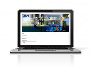JEA's PRIDE Program on a laptop screen